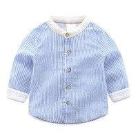 تصميم جديد ربيع الخريف الفتيان الأزرق مخطط القميص الموضة الترفيه كامل الأكمام قمصان الأطفال ملابس الاطفال القطن