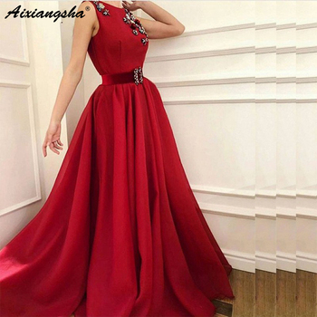 New Arrival Red Evening Dresses 2019 Long  Sweep Train Robe de soiree abiye Floor Length Formal Dress Party Evening Gowns