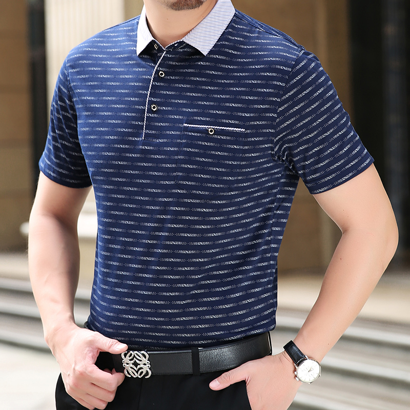 Thoshine Brand 95% Viscose Men Pockets   Polo   Shirts Male Printed   Polo   Shirt Superior Camisa Turn-Down Collar Tops Summer Clothing