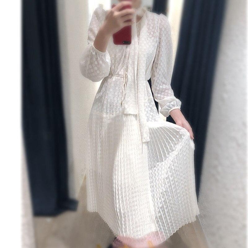 Solide White Mode Blanc Arc Rond Plein Manches Col Vêtements Robe Longue La 2018 Asymétrie Section Nouvelle À Plier Les Be240 6pgAwq