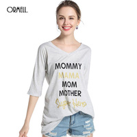 ORMELL New Letter Printing Long Women T Shirt Lady 2017 Summer Casual Dress Grey V Neck