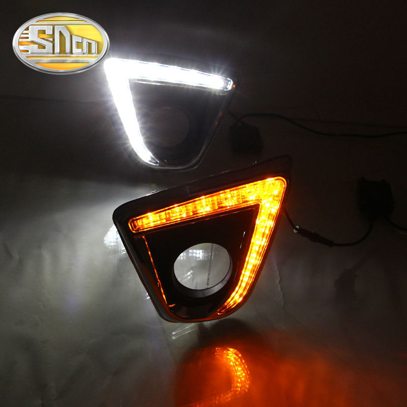 SNCN With Auto Yellow Turning Function Chromed ABS Cover Car DRL LED Daytime Running Light For Mazda CX-5 CX5 CX 5 2012 - 2016