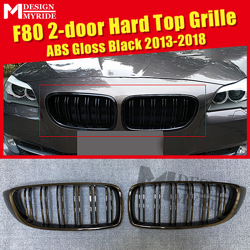 F80 2-door Hard top Front Grille ABS Gloss Black For M3 435i 435ixD 440i Double Slats Bumper Kidney 13+