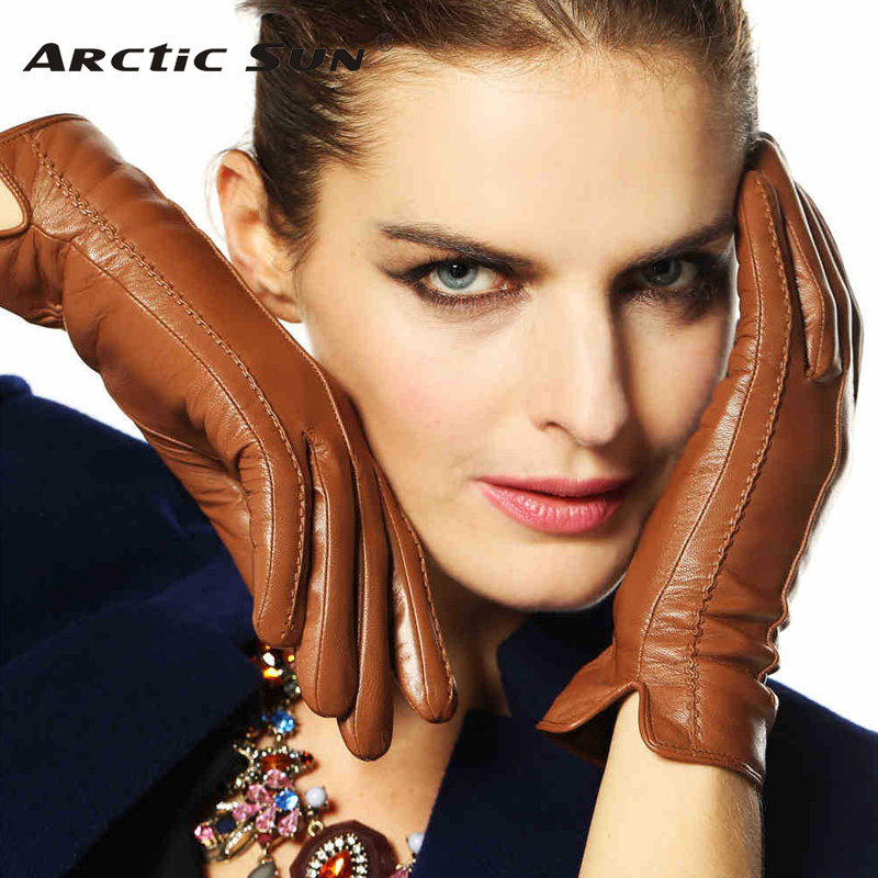 Elegant Women Genuine Lambskin Leather Gloves High Quality Autumn And Winter Plus Velvet Thermal Hot Trendy Female Glove L085NC