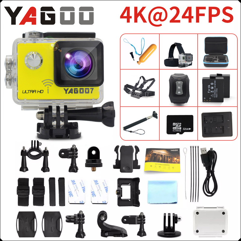 Original YAGOO7 Action camera Ultra HD 4K / 24fps WiFi 2.0170D underwater waterproof Helmet camera  mini Cam Bike  Sport  cam action camera ultra hd 4 k 30fps wifi sport cameres original eken h8 h8r 2 0 170d dual len underwater waterproof helmet cam
