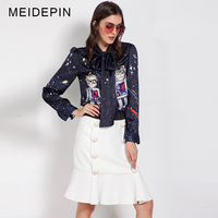 Hot Fashion High Street Women Slim Twin Set Cartoon Printed Blouse Elastic Waist Skirt Celebrity Runway
