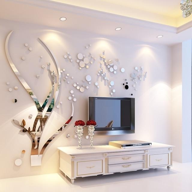 Grande Albero e Rotondo Specchio Diy 3d cristallo acrilico adesivi ...