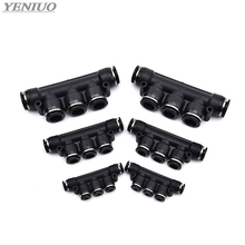 цена на Black Air Pneumatic Fitting 5 Way One Touch 4mm to 12mm OD Hose Tube Push In 5 Port Gas Quick Fittings Connector Coupler