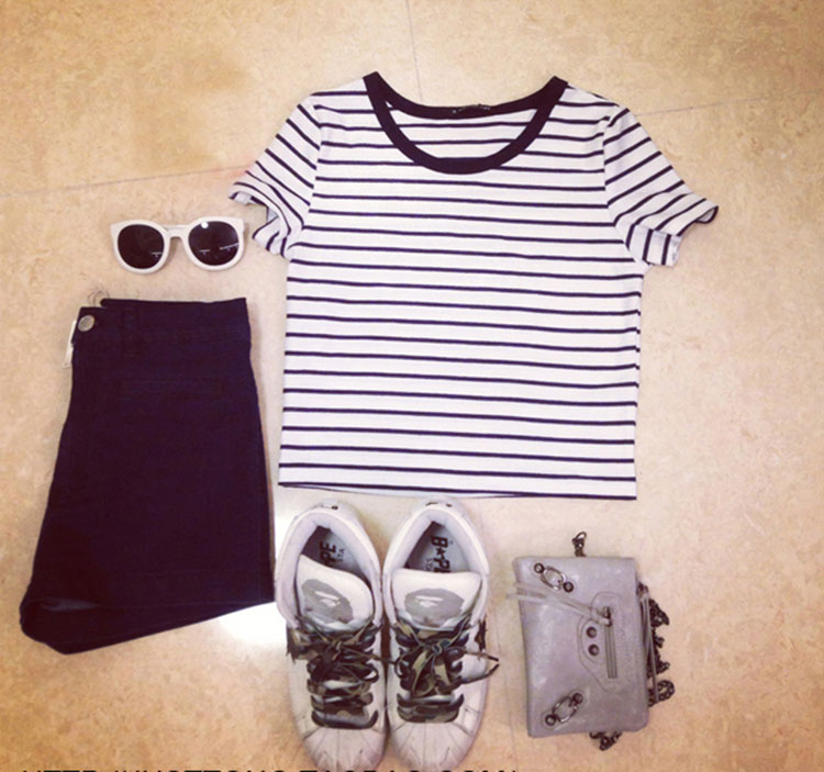 HTB1DiqqXt.LL1JjSZFEq6AVmXXag - FREE SHIPPING Ladies T shirt Sexy Crop Tops Striped Short JKP130