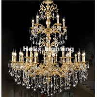Newly European style Golden Crystal Chandelier Light Golden Alloy Crystal Lighting With 29Arms D1200mm LED AC 100% Guaranteed