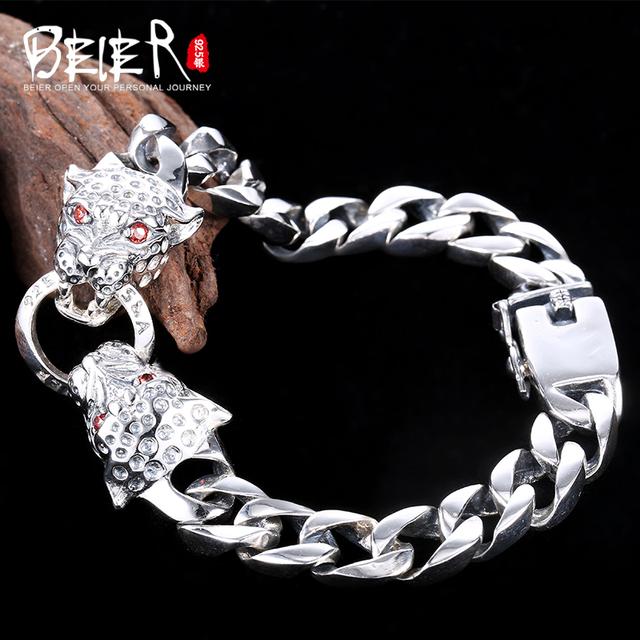 Beier novo tigre store100 % 925 prata esterlina pulseiras pulseiras para homens de punk mão cadeia fine jewelry sctysl0193