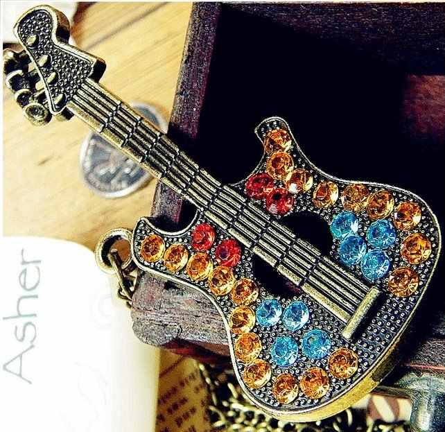 Hot Selling  Multicolor Rhinestone Guitar Pendant Necklace N109