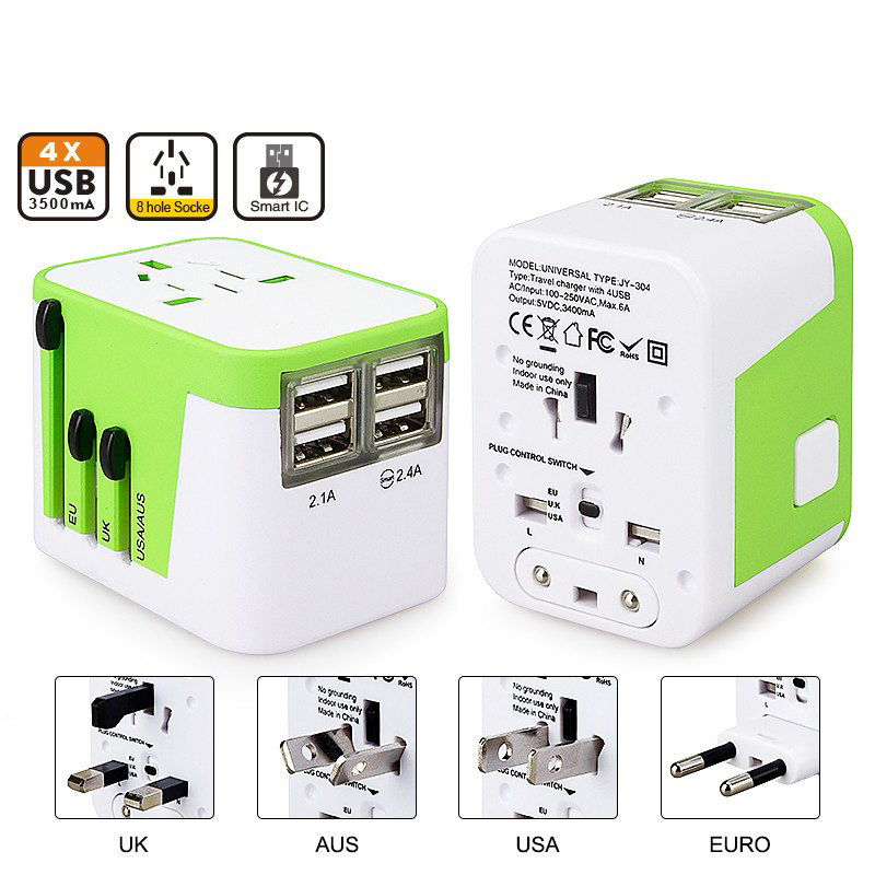 AU//UK//US//EU Universal Travel AC Power Charger Adapter Plug Converter w// Dual USB