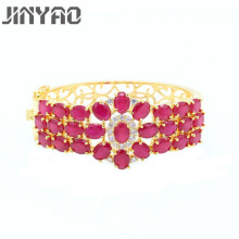 JINYAO Fashion Yellow Pure Gold Color Red Cubic Zircon Charm Wrist Bracelet Bangle For Women Party Jewelry