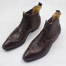 Роскошные ручной работы Для мужчин сапоги ботильоны из натуральной яловой кожи рабочие ботинки обувь ковбойские сапоги для мужчин мотоциклетные полусапожки Для мужчин
