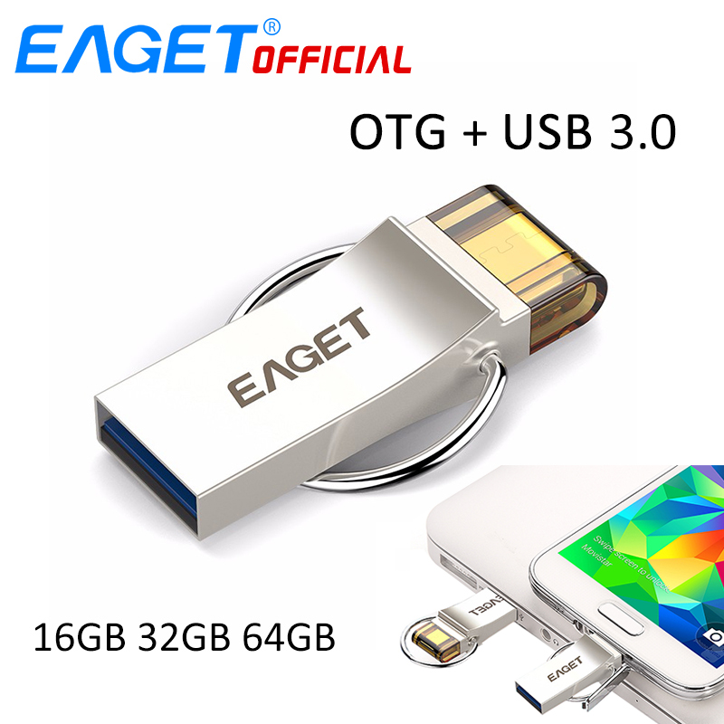 EAGET USB Flash Drive 32GB USB 3.0 Pen Drive 16GB Pendrive 64GB Micro USB OTG U Disk USB Storage Stick For Samsung Phones PC