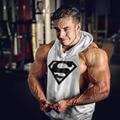 Новый Супермен Печать Логотипа Мышцы Рукавов Толстовки мужские Хлопчатобумажные Балахон Кофты Фитнес Бодибилдинг Стрингер Майка