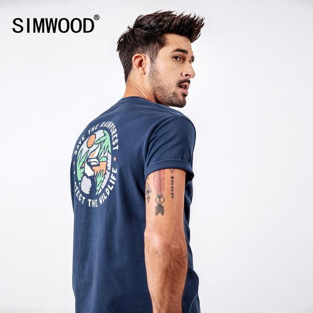 SIMWOOD 2020 חולצות גברים אופנה מותג Streetwear מקרית Slim הדפסת קריקטורה חולצות זכר כותנה קיץ Tees camiseta homme 190112