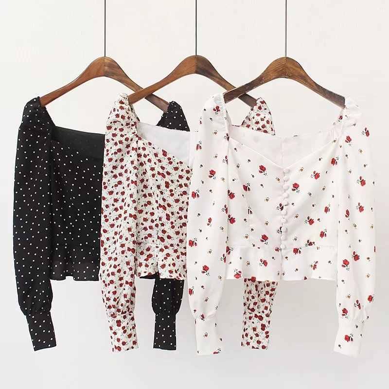 Vrouwen Shirts Vintage Bloemenprint Blouse Tops Zomer Ruches Blusas Dames Tops Streetwear Blusas Mujer De Moda
