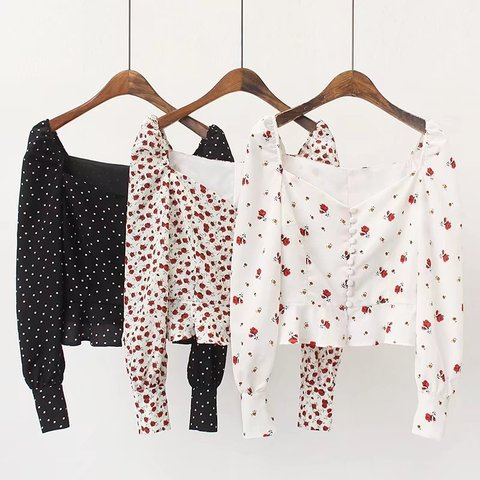 Women Blouses Shirts Vintage Printed buckled long-sleeved shirt ladies ruffled high waist short Streetwear Tops Blusas Mujer De Pakistan