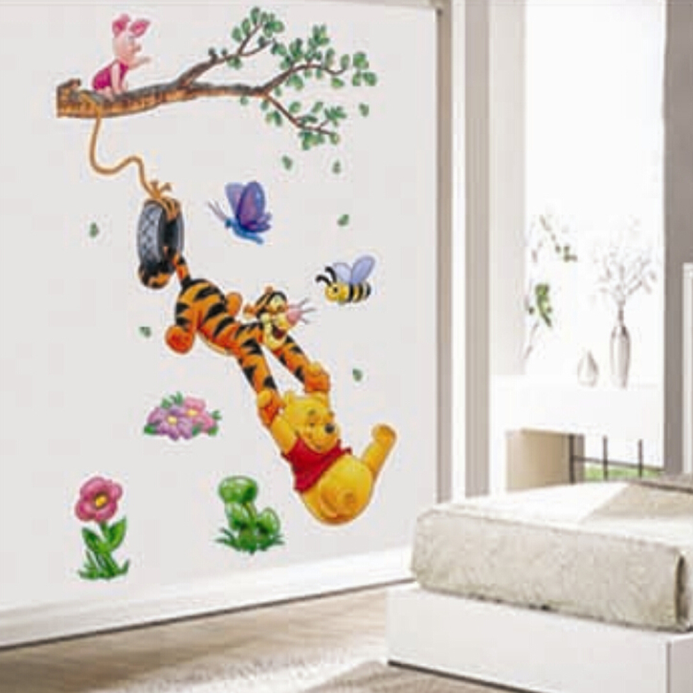 Kids bedroom wall stickers - Diy Cheap 3d Winnie The Pooh Kids Bedroom Wall Stickers Removable Nursery Wall Decals Home Decor