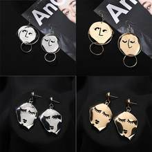Face Silhouette Earrings Wood Post Top Rubber Paint Double Layered Facial Contour Statement Drop Earrings Jewelry(China)