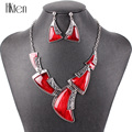 MS20708 Fashion Brand Jewelry Sets Antique Silver Plated Red Necklace Set Bridal Jewelry High Quality Party Gifts New Arrival