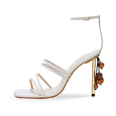 String Bead Women Sandals Runway Square Toe Summer Sandals Narrow Bands Thin High Heels Party Shoes White Shoes Sandalias Mujer Islamabad