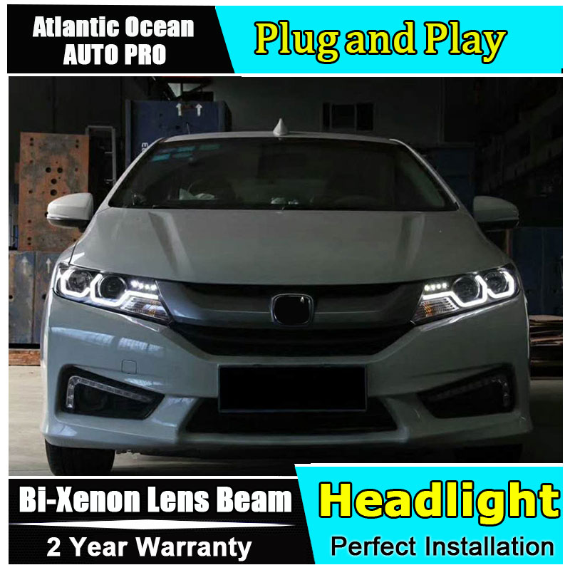 car styling LED Head Lamp for Honda City led headlights 2015-2017 For City head light H7 hid Bi-Xenon Lens low beam led drl auto lighting style led head lamp for mazda 3 axe headlights for axela led angle eyes drl h7 hid bi xenon lens low beam