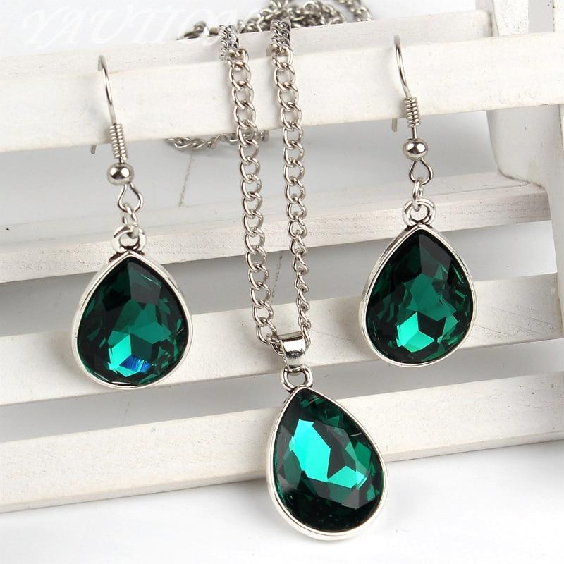 1set Vintage silver Water drop Pendant Necklace & earrings Fashion Jewelr green
