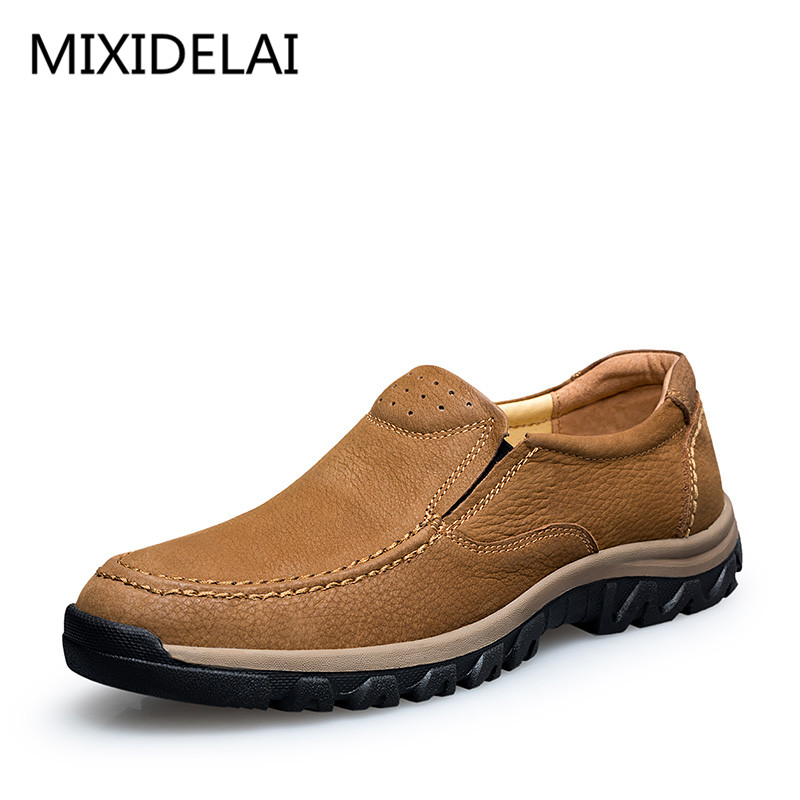 Men Shoes Handmade High Quality Genuine Leather Shoes Slip On Comfort Business Man Casual Shoes Big Size 46 47 2017 spring autumn breathable white wild men casual shoes 100% handmade pigskin leather comfort men shoes high quality size40 44