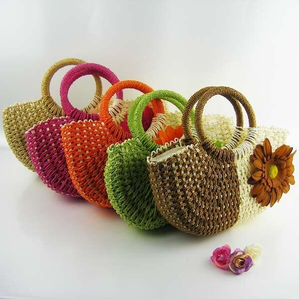 Free shipping 2015 new style sweety flower straw crochet handbags women  beach zipper straw handbag lovely straw crochet bags