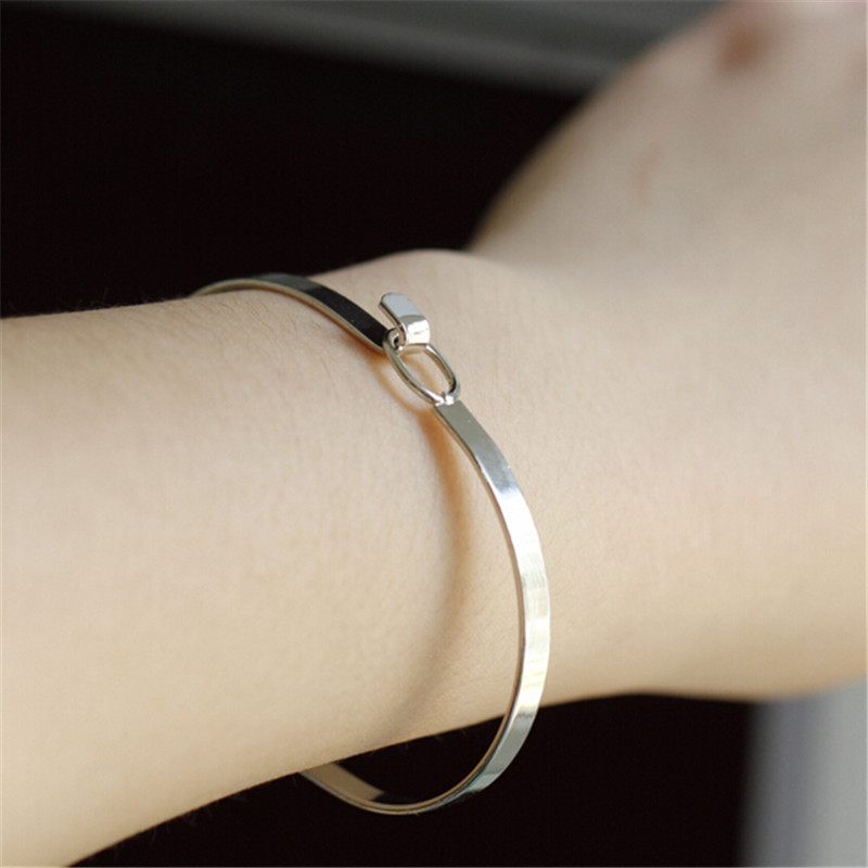 Other stories minimalist unique feel the wind Extremely brief opening hasp bracelet 6 3 5cm 2018 fine bracelet in Bangles from Jewelry Accessories