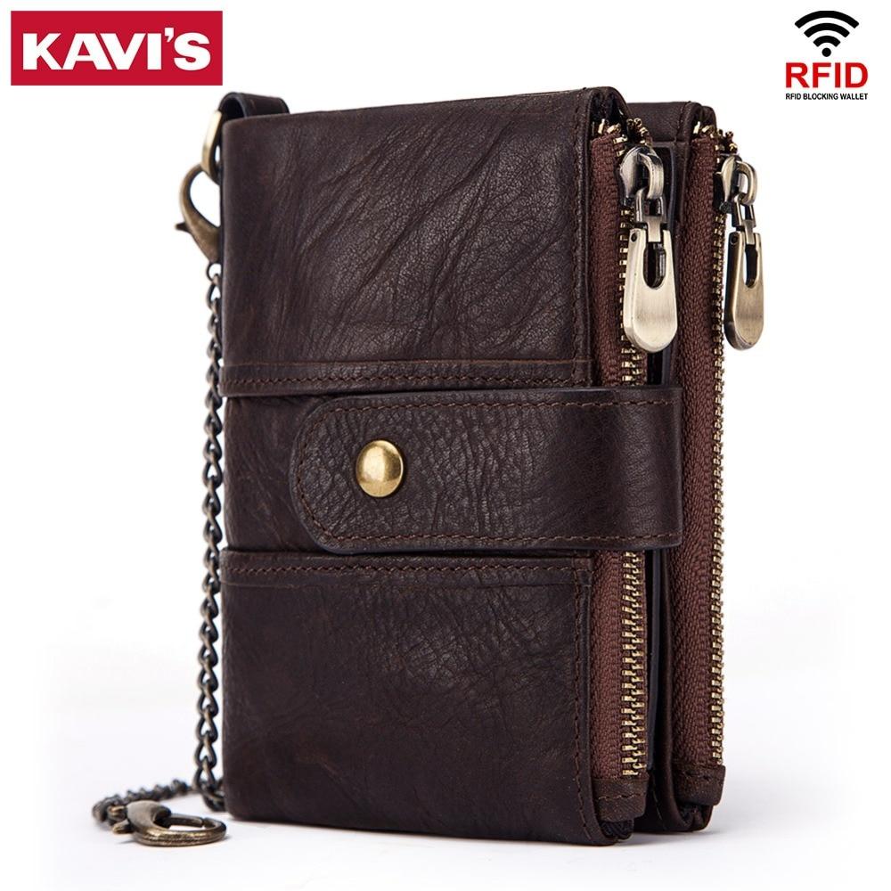 KAVIS 100% Echtem Leder Rfid Brieftasche Männer Crazy Horse Geldbörsen Geldbörse Kurze Männlichen Geld Tasche Qualität Designer Mini Walet kleine