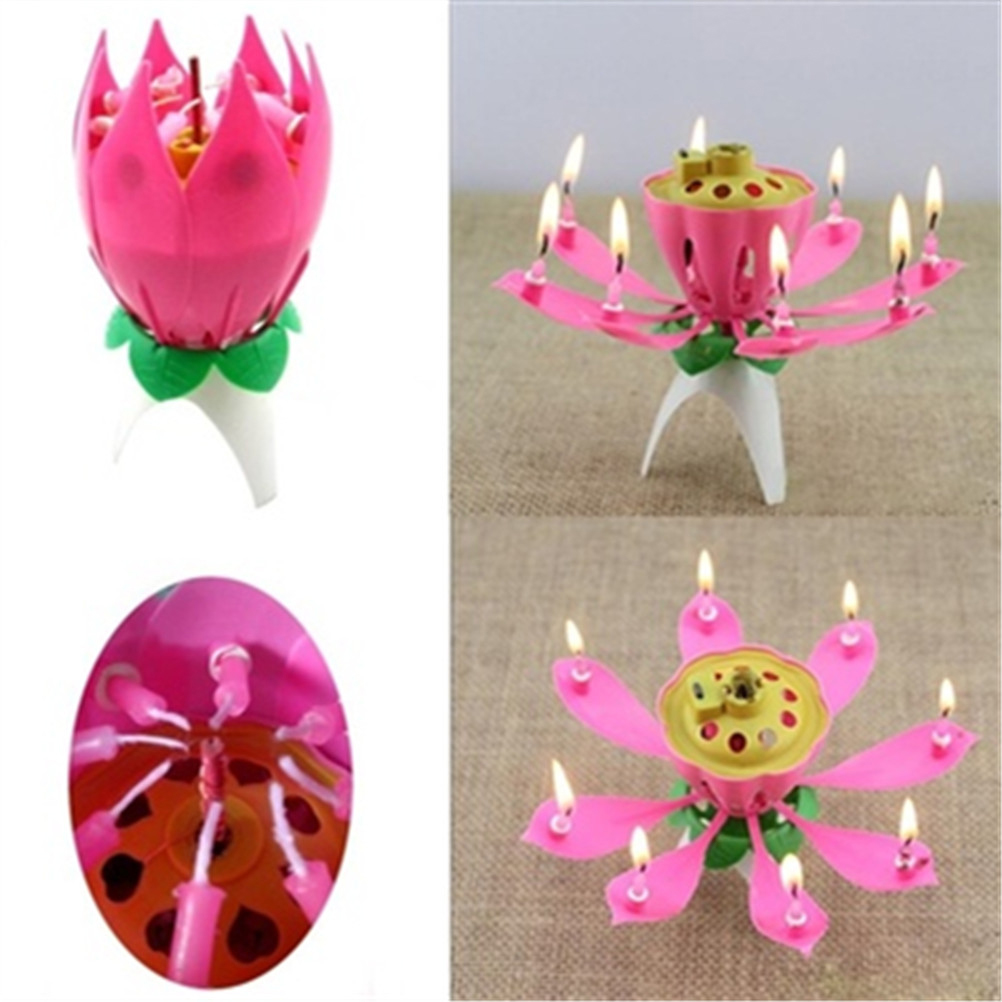 Birthday Candle Blossom Lotus Flower Candles Party Cake Music Sparkle Topper Candele In From Home Garden On Aliexpress