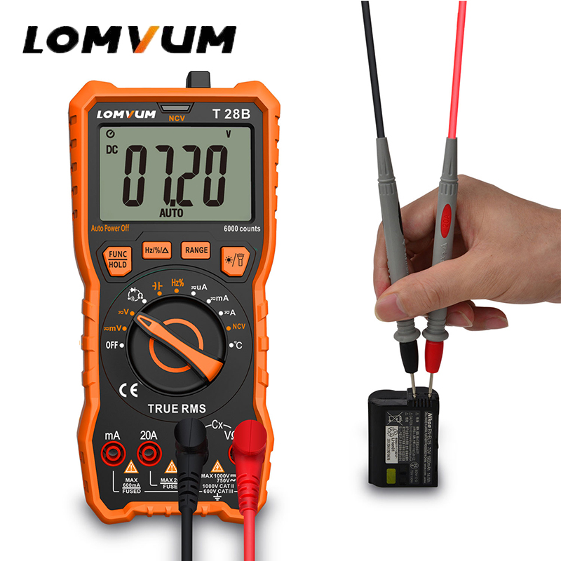 LOMVUM Digital Multimeter Portable Meter Voltage Meter Backlight AC/DC Ammeter Voltmeter Auto Range Tester Mini Multimeter mini voltmeter tester digital voltage test battery dc 0 30v red blue green auto car