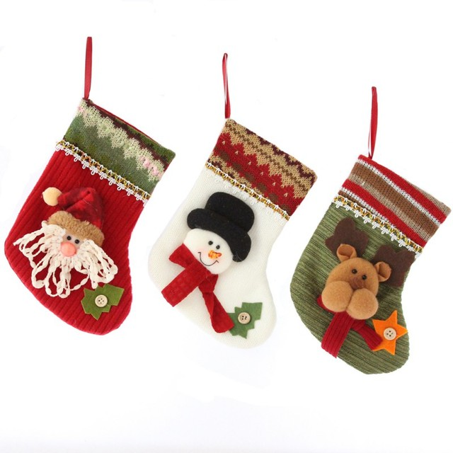 christmas stocking santa claus snowman moose gift candy bag stocking for children kid christmas tree home - Moose Christmas Stocking