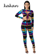 Kakan spring new womens print one-piece tights two-piece hollow sexy wrapped chest multi-colored striped jumpsuit