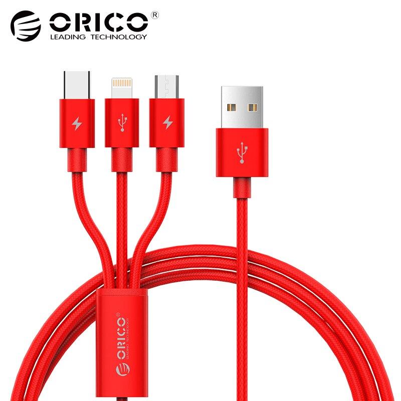 ORICO USB Cavo per iPhone 7 6 6 s 5 5 s di Carico del Caricatore illuminazione di Tipo C Cavo Micro USB 3 in 1 Cavo Del Telefono Mobile