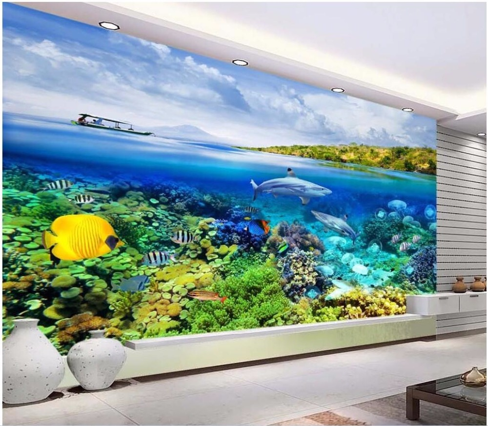 3d wallpaper custom photo Blue sea world shark coral room decoration painting picture 3d wall murals wallpaper for walls 3 d custom photo 3d ceiling murals wall paper blue sky rose flower dove room decor painting 3d wall murals wallpaper for walls 3 d