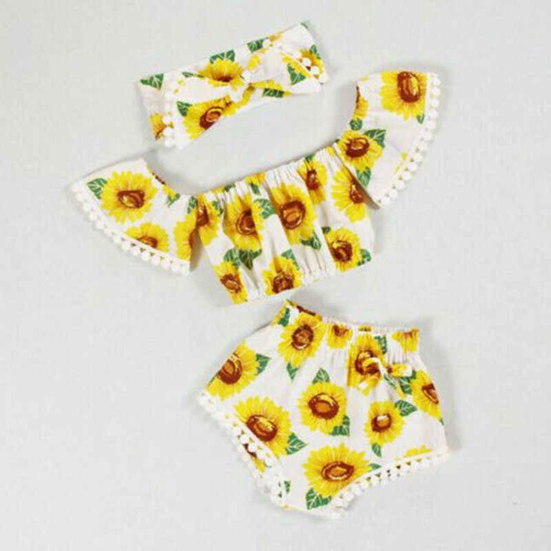 ฤดูร้อนใหม่ 3Pcs ทารกแรกเกิดทารกเด็กทารกชุดเสื้อผ้า Off ไหล่สีเหลืองเสื้อ Sunflower พิมพ์กางเกงขาสั้นน่ารัก Headband ชุด