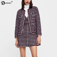 JOYDU Woolen Jackets for Women Elegant Plaid Fashion Coat 2018 New Winter O neck Short Design Office Jacket jaqueta feminina