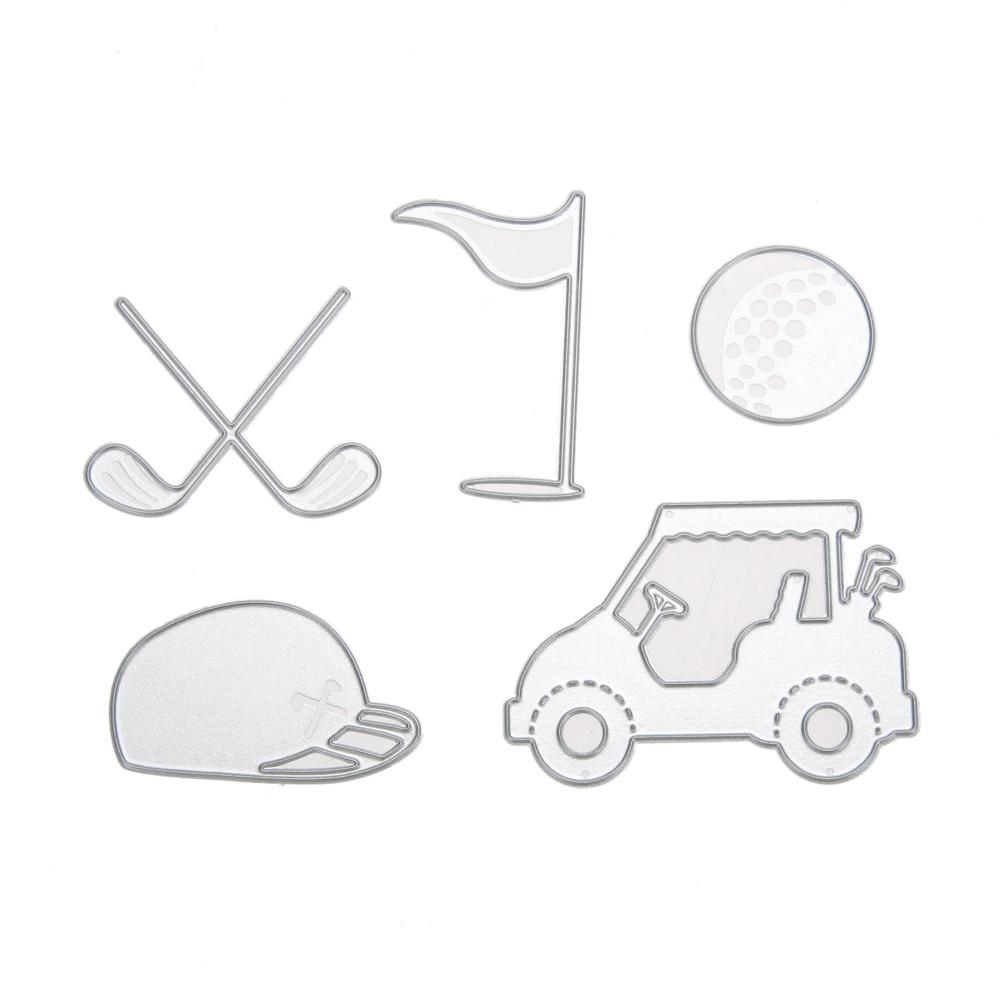 Scrapbook paper cart - 5pcs Golf Carts Clubs Balls Cutting Dies Diy Stencil Paper Card Scrapbook Embossing Craft For Invitations