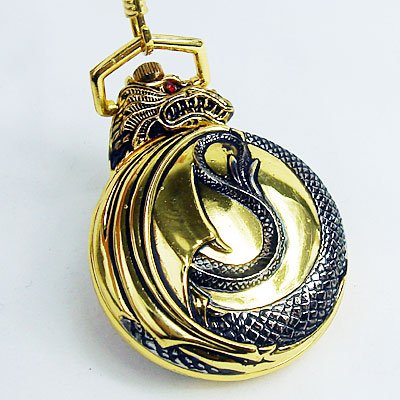1862 Antique Golden Dragon Style 12/24Hour Quartz Pocket Watch Freeship