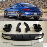 JIOYNG 4 Outlet PP Rear Bumper Diffuser with Exhaust Tips For Benz W205 C63 AMG Coupe C200 C300 2015 2016 2017 2018