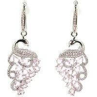 Elegant Rich Blue Violet Tanzanite White CZ Ladies Wedding Ear Stud 925 Silver Earrings Gift 11x9mm