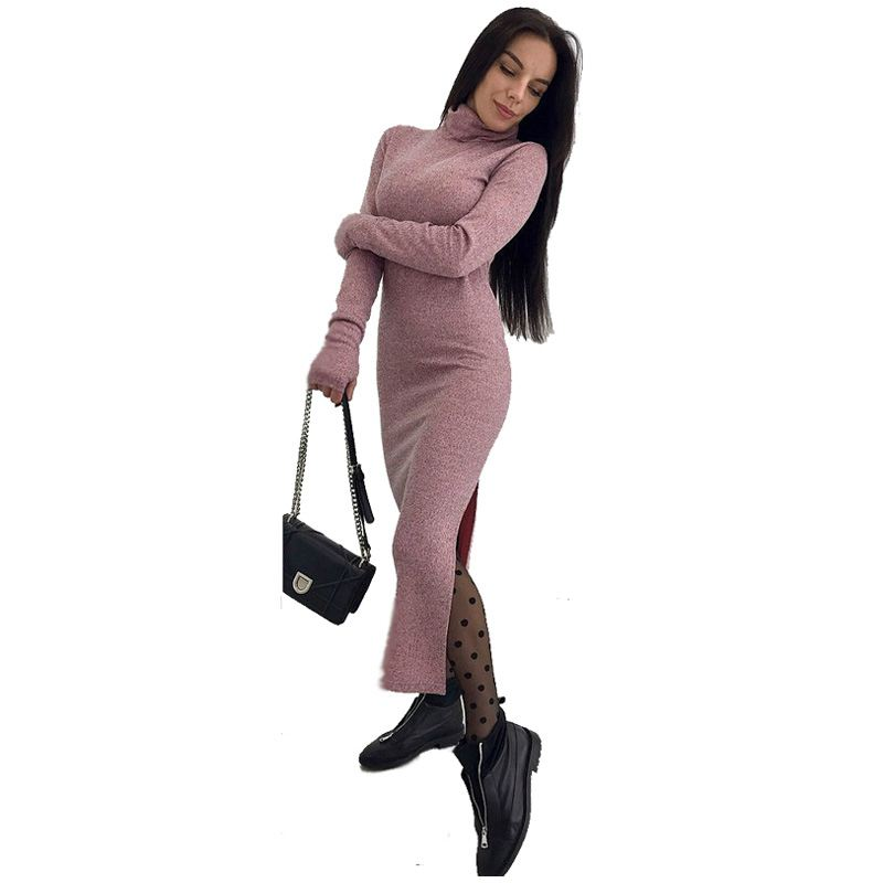 Women Turtleneck Long Female Knitted Cardigan Sweater Dress Autumn Spring Long Sleeve Women Sweater Dress Knitwear