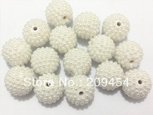 ¡Gran oferta!! Más nuevo 20MM 100 unids/lote bolas de discoteca gruesas blancas, perlas Disco cuentas de diamantes de imitación para collar grueso