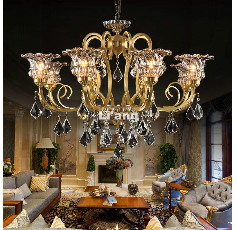European Brass Antique Crystal Chandelier Lingting Luxurious Bronze  K9Crystal Lamp Lustre Suspension Lighting 100% Guaranteed - Popular Brass Antique Chandelier-Buy Cheap Brass Antique