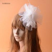 Classic White Net Wedding Headpiece Bride Feather Fascinator Hair Clip For Ladies Fashion Tea Party Show